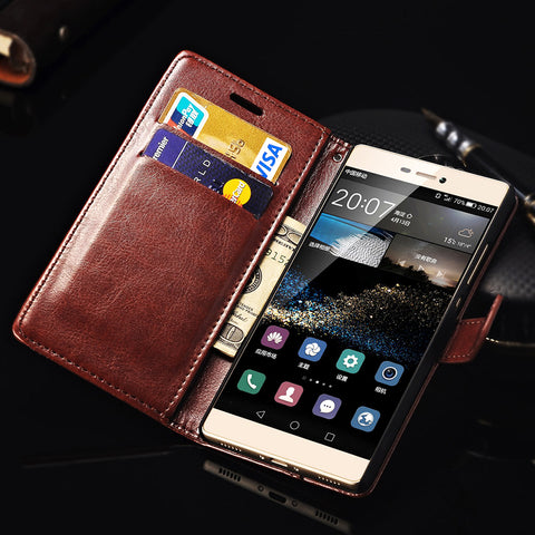For Huawei P8 Case Cover With Stand Flip Wallet PU Leather Phone Bag Back Cover Case For