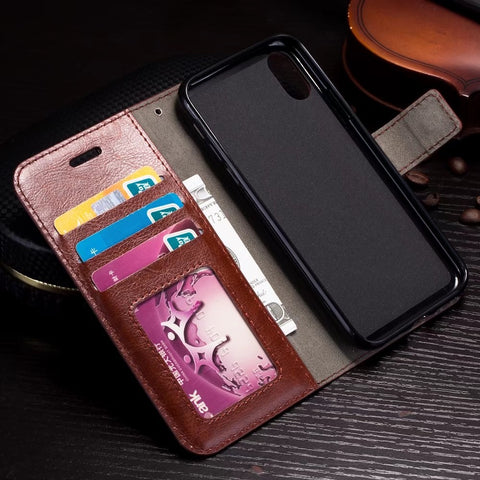 For iphone X 8 7 6 6S PU Leather Vintage Wallet Phone Cases for iPhone 5 5S SE Luxury