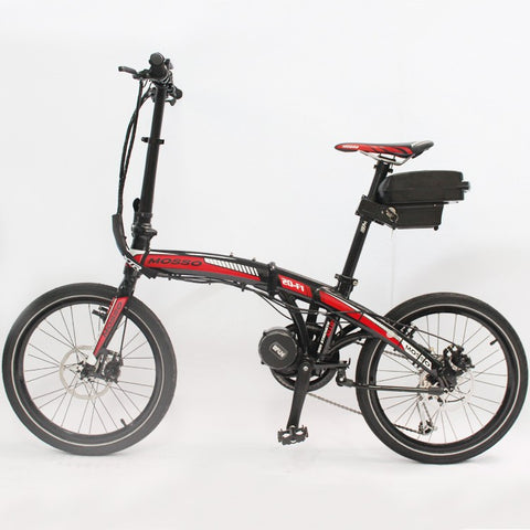 Free Folding Electric Bicycle 48V 350W 8FUN Bafang Mid Drive Motor Foldable Ebike+48V 12AH