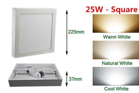 Free shipping 9W/15W/25WRound/Square Led Panel Light Surface Mounted Downlight lighting