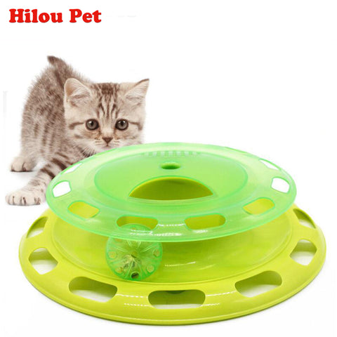 Funny Pet Toys Cat Crazy Ball Disk Interactive Amusement Plate Play and Feeding Disc