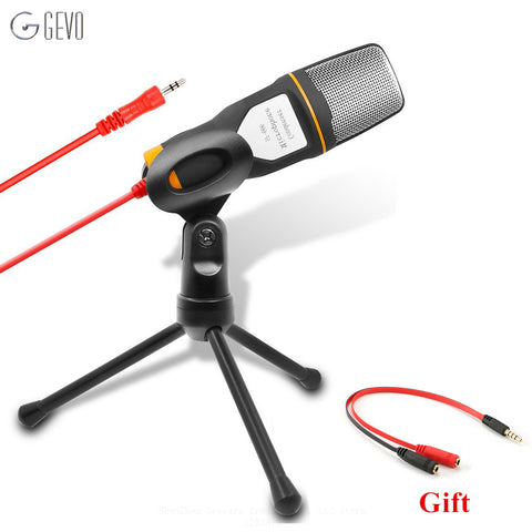 GEVO SF-666 Computer Microphone Professional 3.5mm Jack Wired With Stand Tripod Handheld