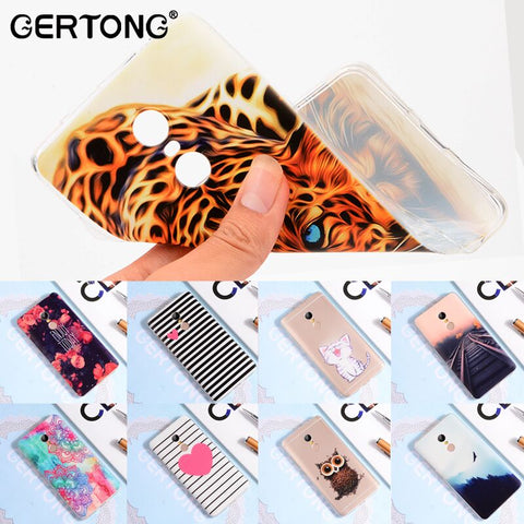 GerTong Printing Patterned Case Cover For Xiaomi Redmi Note 4 Pro Rose Heart Cat Railway