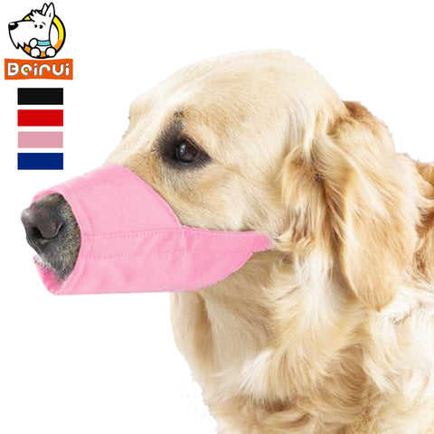 Grooming Nylon Dog Pet Muzzle No Bite Barking Adjustable 7 Size Black/Pink/Blue/Red .