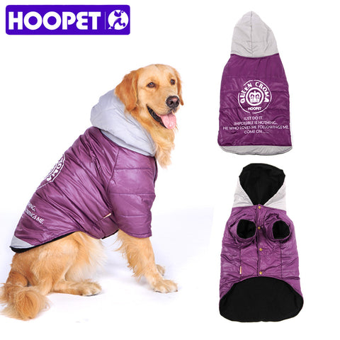 HOOPET Big Dog clothes Purple Warm Cotton-padded Two Feet Clothes Thicken Hoodie coat
