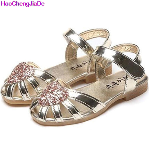 HaoChengJiaDe Summer Sandals For Girls Kids Party Sequins Shoes Girls Princess Single Flat