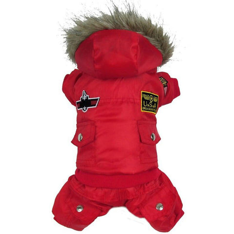 High Qulaity Dog Puppy Winter Jacket Coat USA AIR FORCE Waterproof Clothes Pets Animals