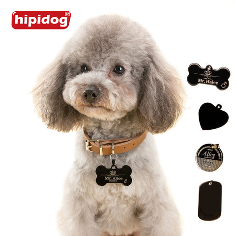 Hipidog Personalized Engraving Text Dog Tag Engraved Dog Cat Tag Dog Identification