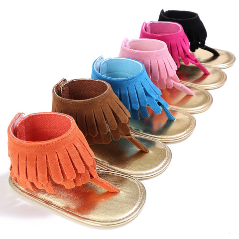 Hongteya 6colors Summer New T style PU Suede Leather Double Tassel baby moccasins Soft