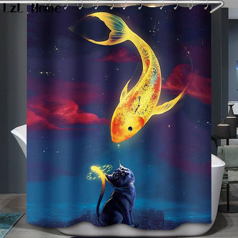 Hot High Quality Polyester Fashion 3D cat fish shower curtain Rabbit douche gordijn
