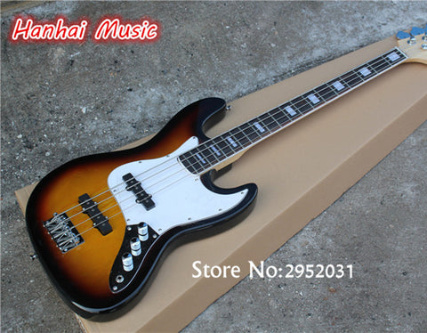 Hot Sale Custom 4-String Bass Guitar with Tobacco Sunburst Color,White Pickguard,Maple