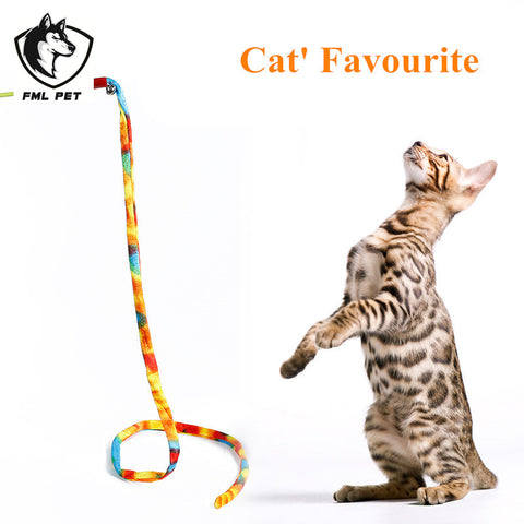 Hot Sales 1M Length Colorful Strip Cat Toy Rope With Small Bell Interactive Products For