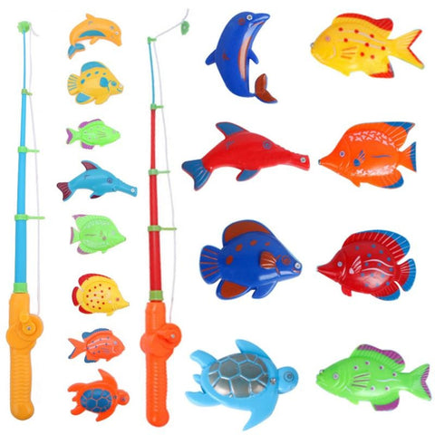 Hot Sell Magnetic 1 Rod 8 Fish Catch Hook Pull Baby Children Bath Fishing Game Set Outdoor