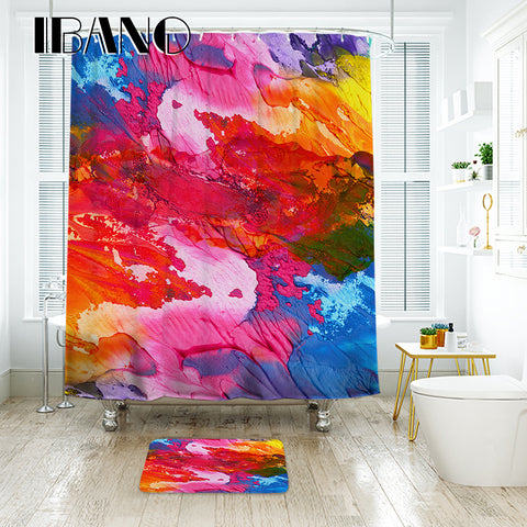 IBANO 3D Ink Colorful Shower Curtain Waterproof Polyester Fabric Bath Curtain For The
