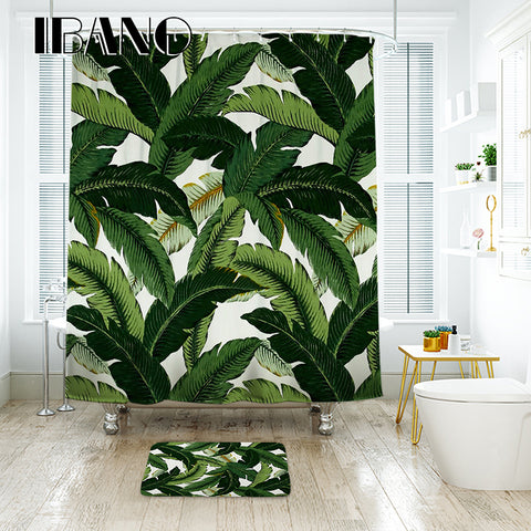 IBANO Banana Leaf Shower Curtain Waterproof Polyester Fabric Bath Curtain For The Bathroom
