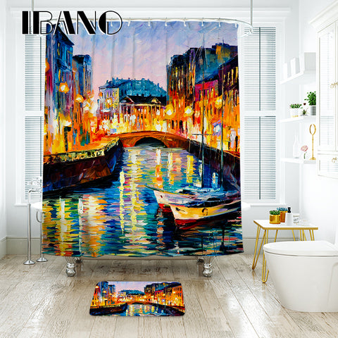 IBANO Scenic Oil Painting Shower Curtain Waterproof Polyester Fabric Bath Curtain For