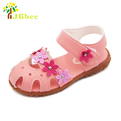 J Ghee Summer Girls Sandals Anti-kick Toe-cap Children Shoes PU Leather With