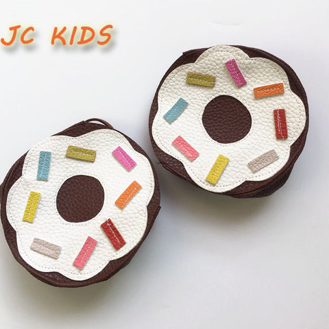 JC KIDS Handmade Sweet Chocolate Donuts Bag For Kids Girls Gift Bag Cute Fashion PU Donuts