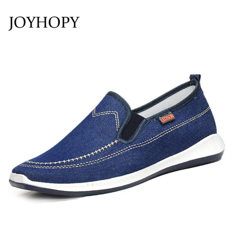 JOYHOPY New Loafers Men Casual Shoes Denim Canvas Shoes Breathable Men Flat Shoes