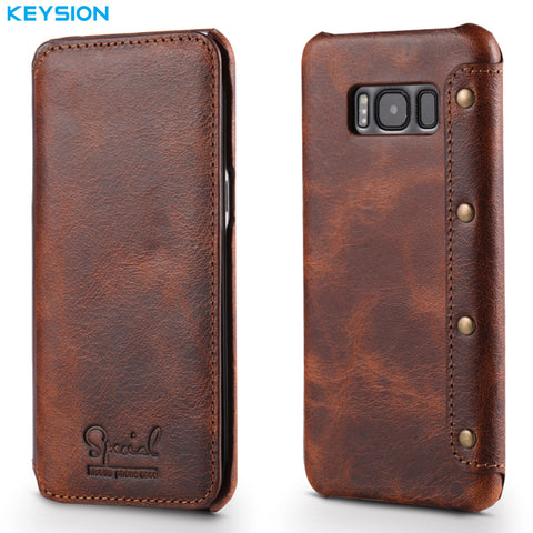 KEYSION Case For Samsung Galaxy S8 S8 Plus Genuine Real Leather Wallet Full-Body