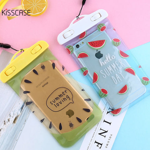 KISSCASE 5.5 inch 30 Meters Waterproof Phone Bag Case For iphone 7 6 6S Plus Case Cute