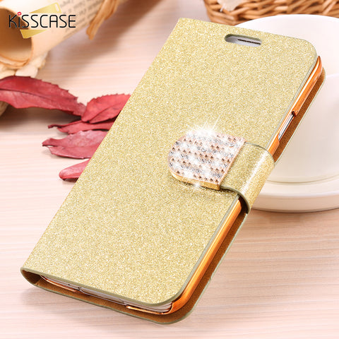 KISSCASE For Samsung S5 Cases S8 Plus Bling Diamond Glitter Leather Case Cover For Samsung