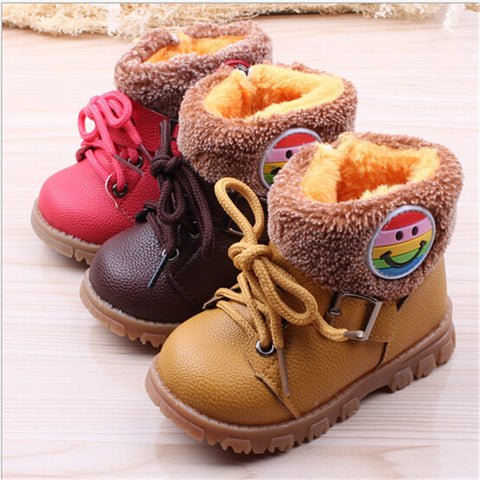 Boots for Boys Kids Boots winter children's thick warm cotton boots PU leather soft bottom