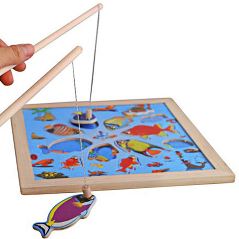 Kids Fishing Board Game Toy Wooden Puzzle Magnetic Fishing Toy 11pcs Cartoon Pattern