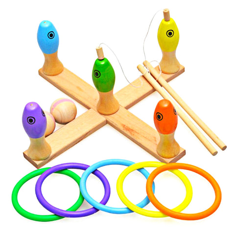 Kids Wooden Toys Multicolor 3-in-1 Toy Gift Set Children Wooden Fishing Game Ring Toss