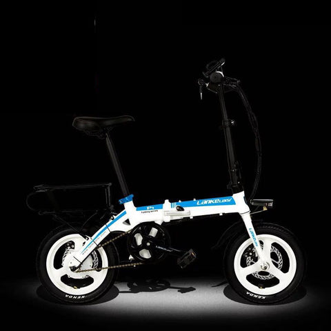 LANKELEISI 48V 14 inch electric bicycle Super Light Mini lithium folding bike .
