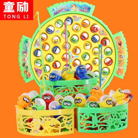 Large fish dish cat fishing toy magnetic ocean play games electric music plastic hungry