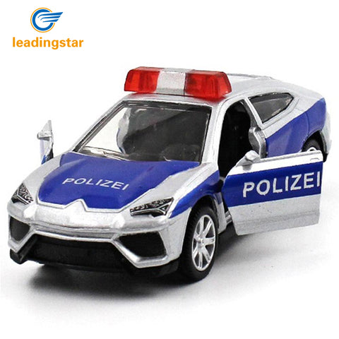 LeadingStar 5Pcs Novelty Mini Police Car Toys with Active Door 1:64 Alloy Pull Back Toy