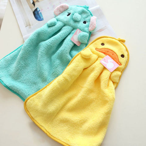 Lovely Cartoon Children Hand Dry Towel Kids Kitchen Bathroom Kid Soft Plush Fabric Hang