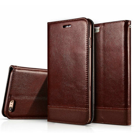Luxury Magnetic Wallet Case For IPhone 6 6S Plus 7 7 Plus Flip Cover PU Leather Phone Bags