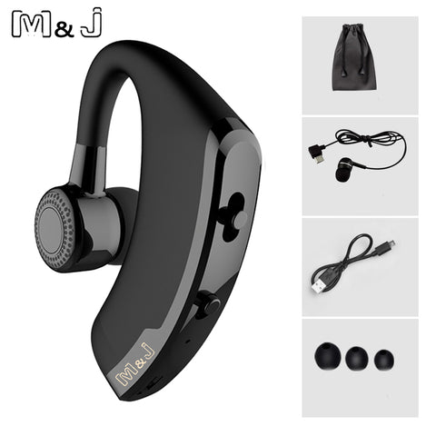 M&J V9 Handsfree Business Bluetooth Headphone With Mic Voice Control Wireless Bluetooth