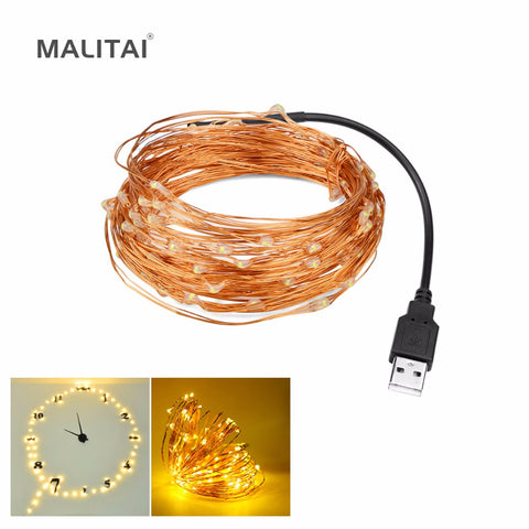MALITAI 5M 10M Decoration USB LED Night light 5V Copper Wire String lamp For TV PC Monitor