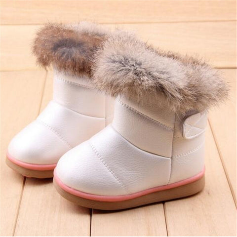 Boots for Boys MHYONS Winter Plush Baby Girls Snow Boots Warm Shoes Pu Leather Flat With Baby Toddler