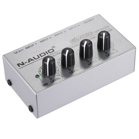MX400 Ultra-compact Low Noise 4 Channels Line Mono Audio Mixer with Power Adapter .