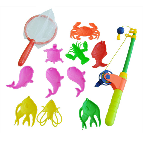 Magnetic Fishing Toy Rod Model Net 10 Fish Kid Children Baby Bath Time Fun Game .