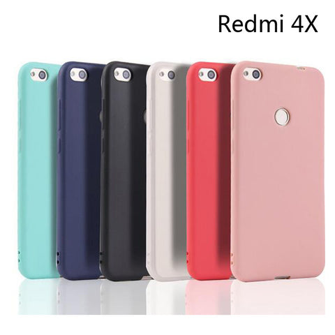 "Matte Candy Solid color Cover For Xiaomi Redmi 4X 5.15""inch Silicone TPU soft case for"