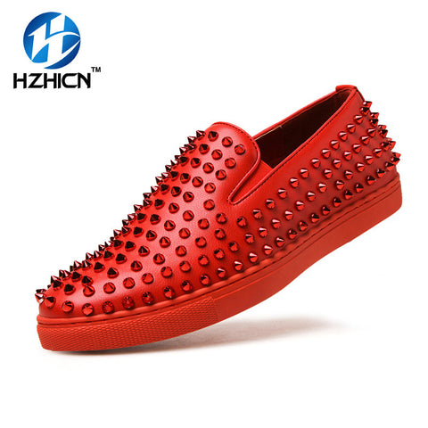 Men Shoes Top Quality Red Bottom Men Shoes Fashion Dandelion Spikes Men Loafers Rivets