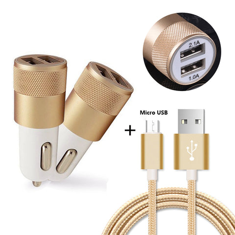 Micro USB Charging Data Cable + 2-Ports USB Car Charger For Huawei Ascend Mate 2 Mate 8