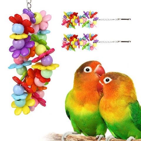 Mini Multicolor Bird Bells Ring Hanging Toys Chewing Swing Cage Accessories 3 type .