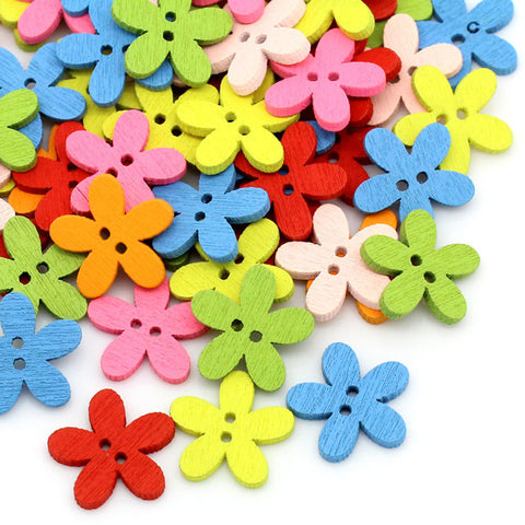 Multicolor 100pcs 14x15mm 2 Holes Mixed Flower Wooden decorative Buttons Fit Sewing