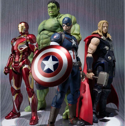 NEW hot 16-22cm Avengers thor Iron man hulk Captain America movable Action figure toys