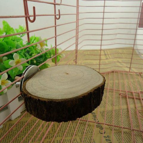 Nature Wood Bird Cage Accessories Wooen Parrot Perches Stand Platform Squirrel Hamster Pet