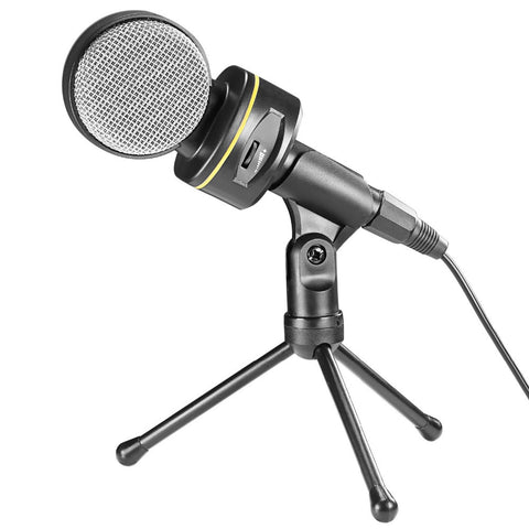 Neewer Condenser Volume Control Microphone+4.2 inches/10.7cm Mini Table Tripod Stand+3.5MM
