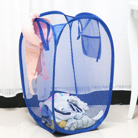 New Arrival Mesh Fabric Foldable Pop Up Dirty Clothes Washing Laundry Basket Bag Bin