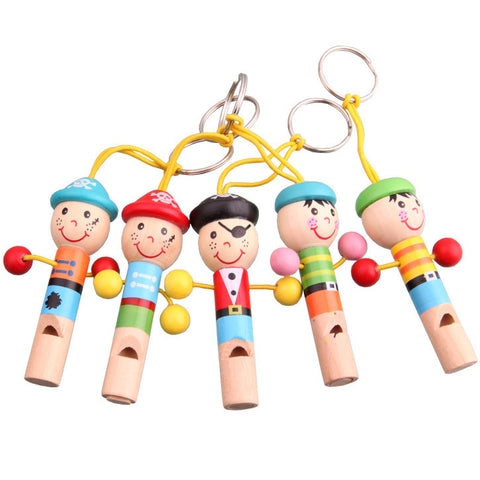 New Cartoon Cute For Baby Wooden Whistle Pirates Developmental Toy Musical Bag