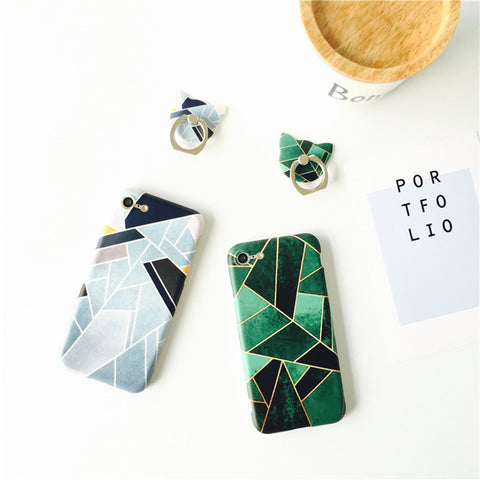 New Cut Patchwork Case For iPhone 7 7plus 6 6s 6 Plus 6s Plus Geometric Triangle Simple